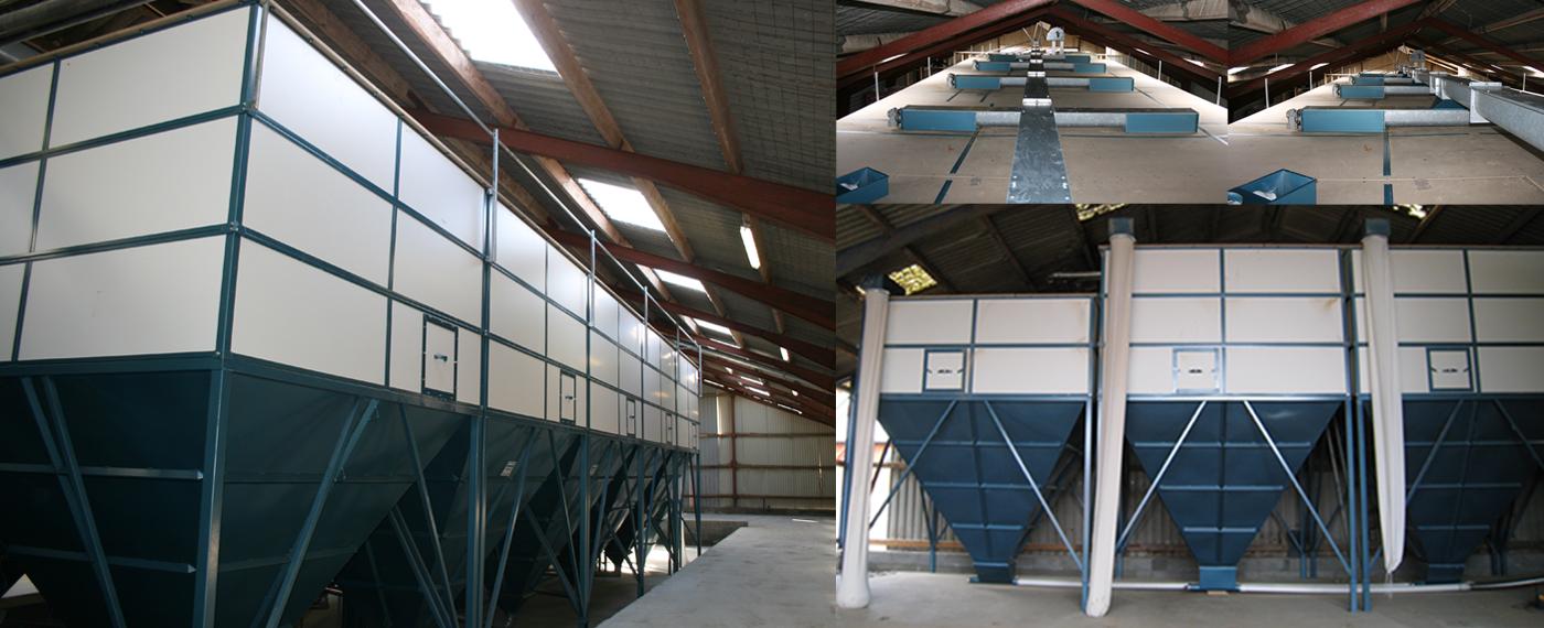 Indendørs siloer i alle størrelser! Professionel opbevaring af foder!